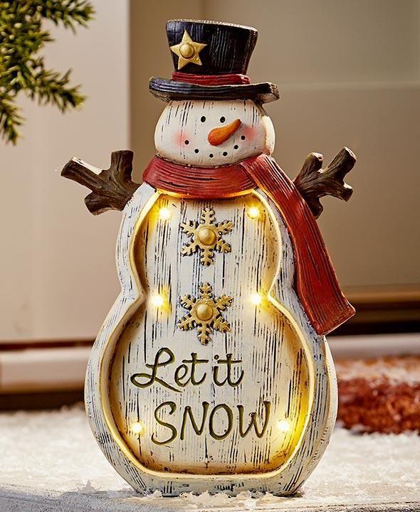 LED Lighted Christmas Statue Snowman Santa Penguin Angel Ceramic