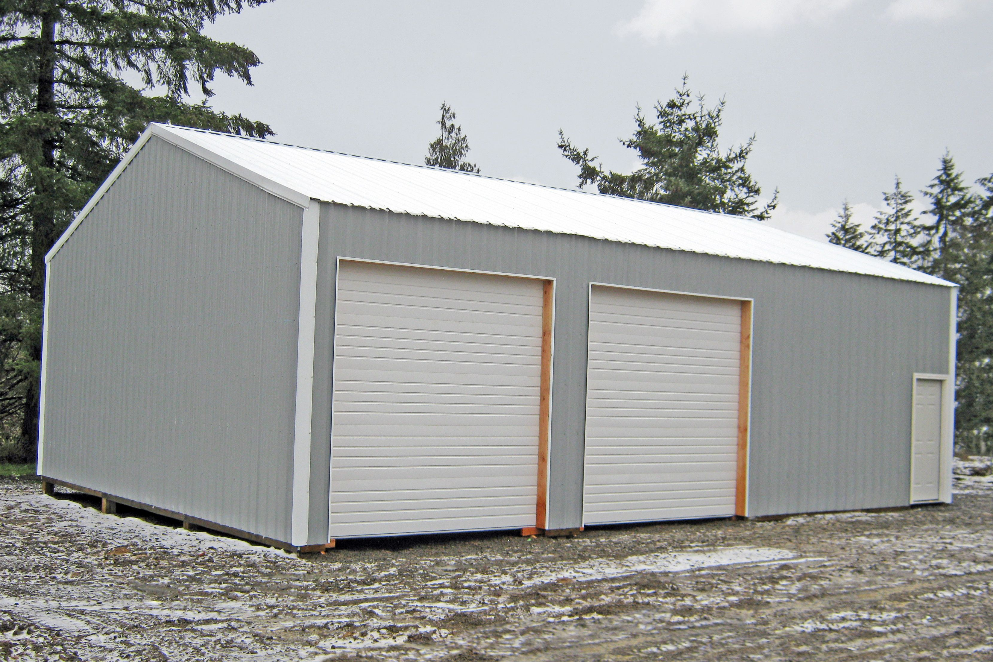 30 X 40 X 12 Residential Pole Building With Overhead Doors And Walk In Door Barns Sheds Garden Storage Shed Building A Garage