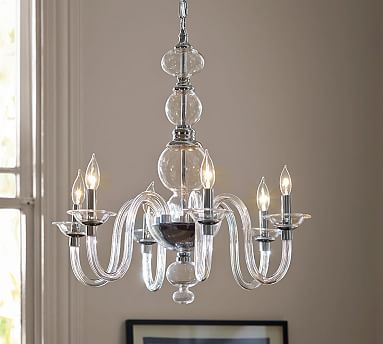 N Glass Chandelier Polished Nickle Finish