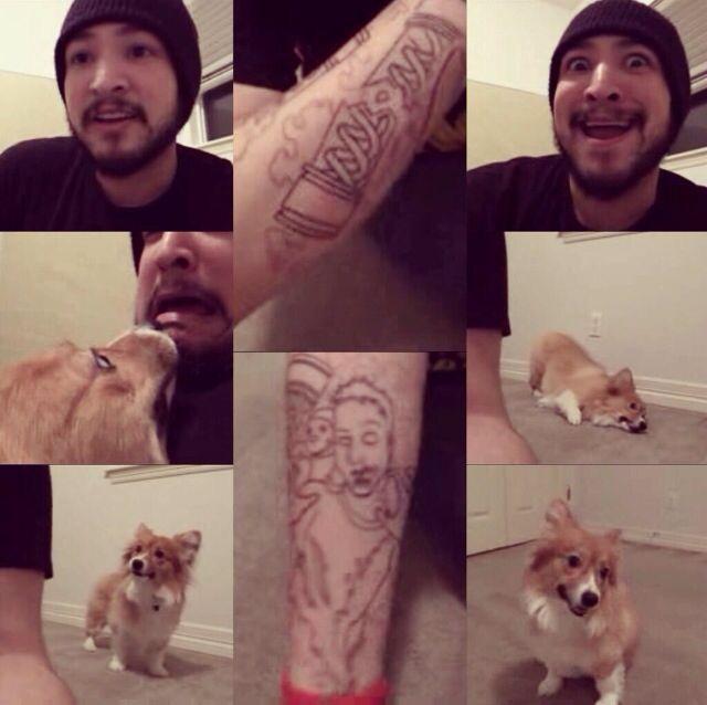 James's new tattoo, and Ein in the background ... Uberhaxornova Tattoo