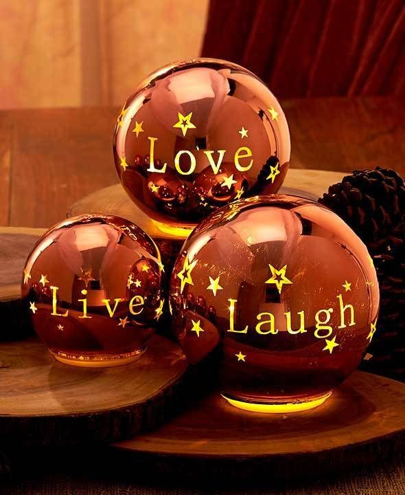 Bronze Live Laugh Love Lighted Sentiment Orb Table Shelf Living Room Home Decor Rooms Home Decor Decor Bronze Living