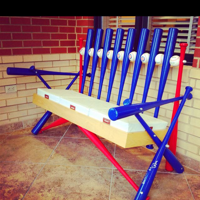 Best 25 Baseball Furniture Ideas On Pinterest: Softball/baseball Bench With Bats, Balls, And Bases