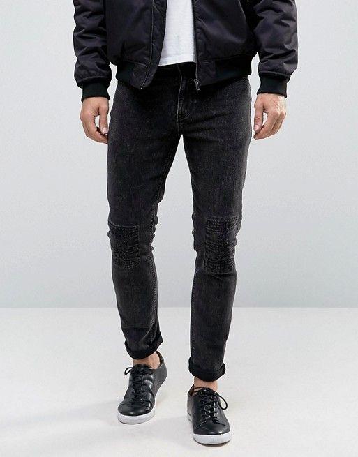 ASOS   Vaqueros ajustados negros con cortes y costuras de ASOS