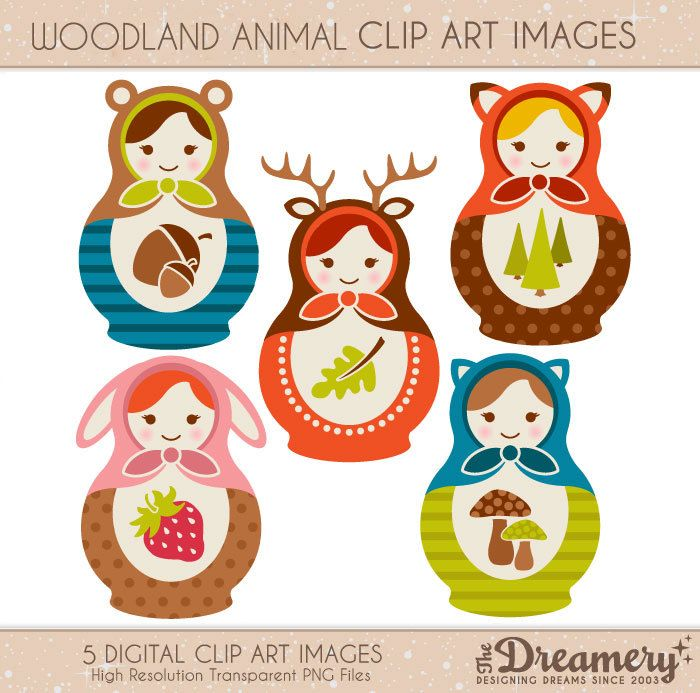 5 Woodland Animal Russian Nesting Doll Clip Art Images - INSTANT DOWNLOAD - PNG - Invitations, Party, Baby Shower, Birthday by TheDreameryDesigns on Etsy https://www.etsy.com/listing/173984470/5-woodland-animal-russian-nesting-doll