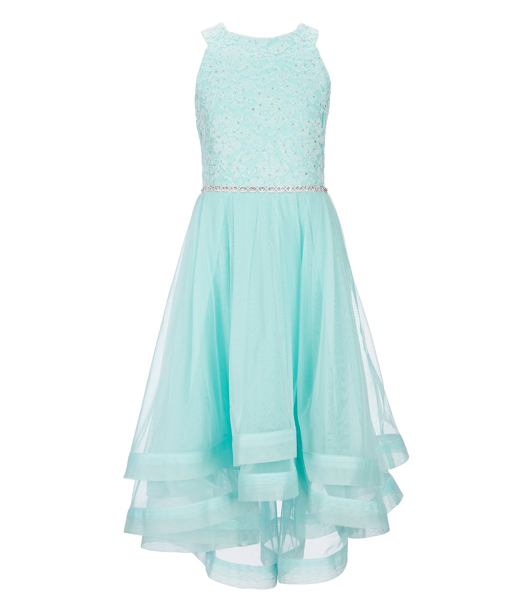 Xtraordinary big girls glitter lace hi low dress dillards