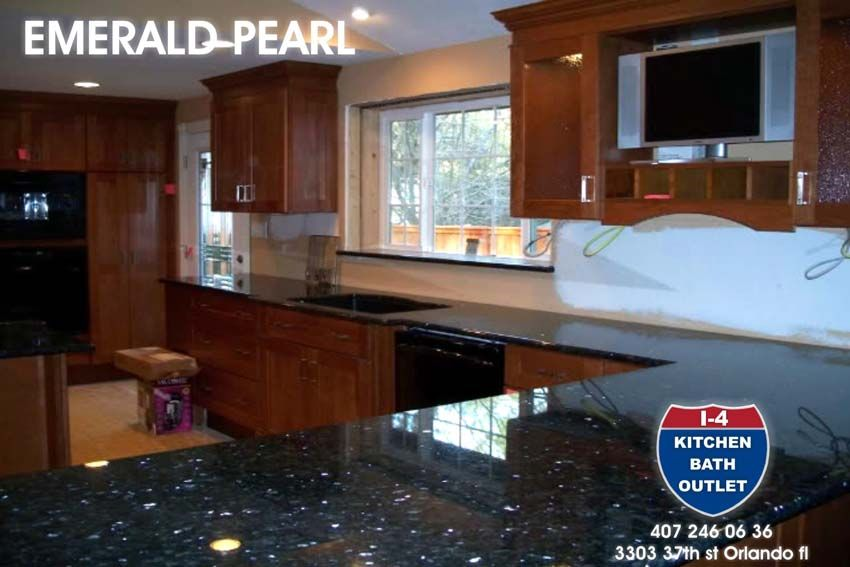 Blue Pearl Granite Countertops With Cherry Cabinets. Orlando Custom Cabinets