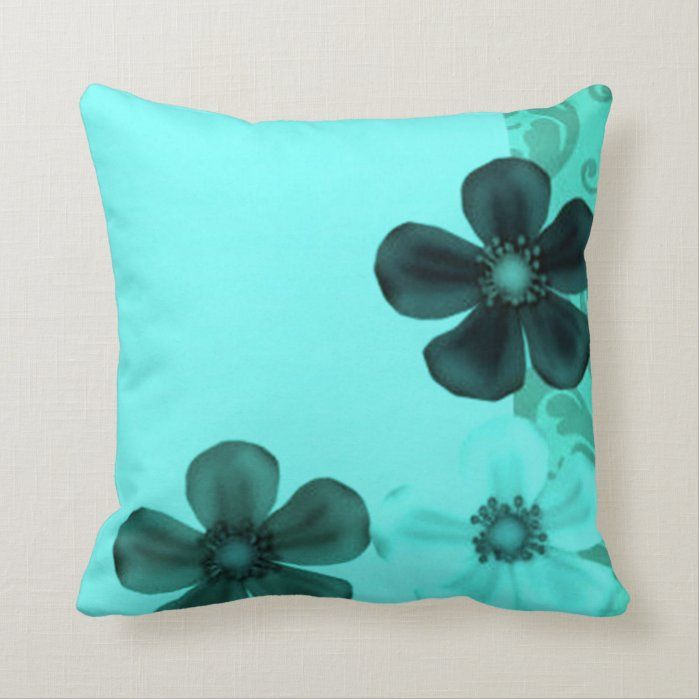 Custom Throw Pillow - Retro Vintage Floral Teal Pillows Pillows - Zazzle Personalized Throw Pillow