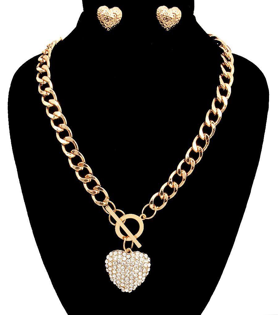 Chain necklace with heart pendant set jewels pinterest pendant