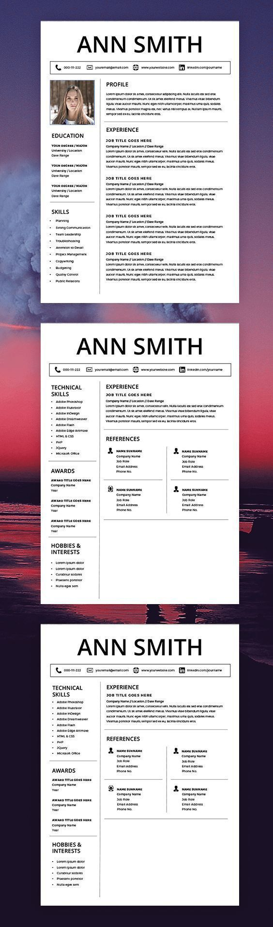 Curriculum Vitae Template  Cv Template  Cover Letter  Ms Word