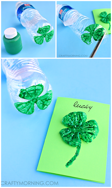 Water Bottle 3 Leaf Clover Cards - Pretty st. patrick's day craft! |
