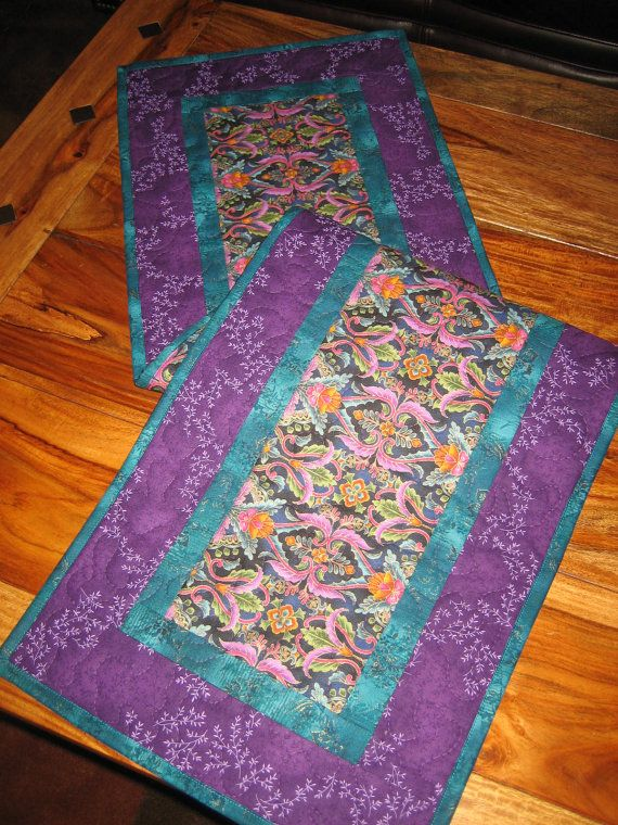 Quilted Table Runner Paisley Purple Blue And Gold By TahoeQuilts