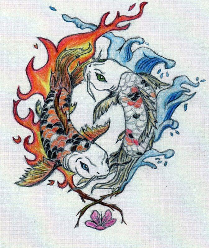 Koi Fish Drawing Color Google Search Yin Yang Koi Fish