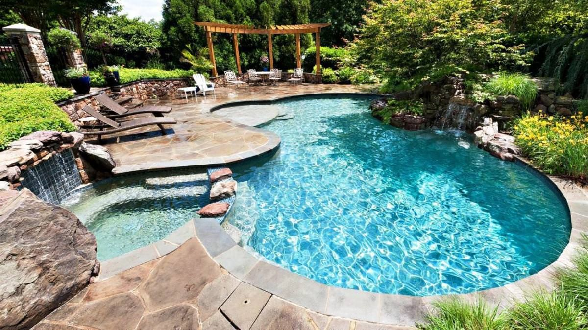 Attractive Swiming Pools Inground Swimming Pool Designs Ideas With Wooden Pool  Loungers Also Gazebo Design Ideas And
