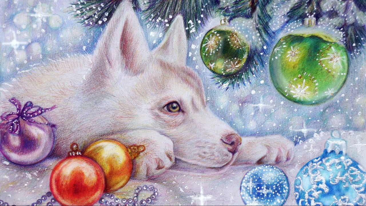 click to download the image preview wallpaper dog new year balloons art holiday christmas related hashtags holidays wallpapers