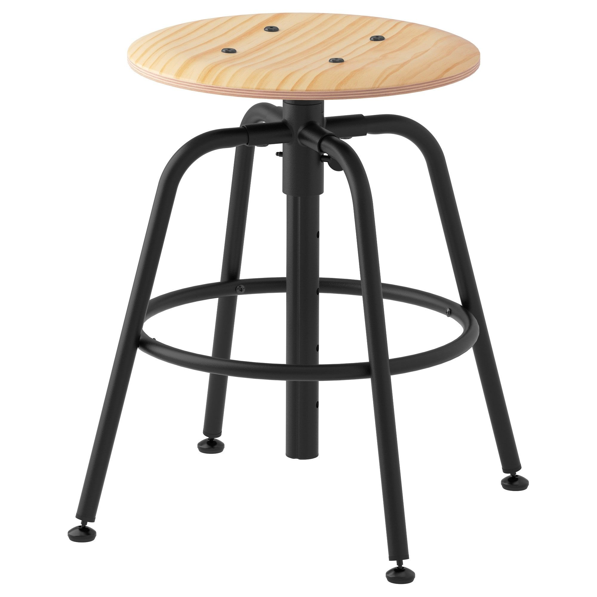 KULLABERG Stool, pine, black IKEA Industrial style