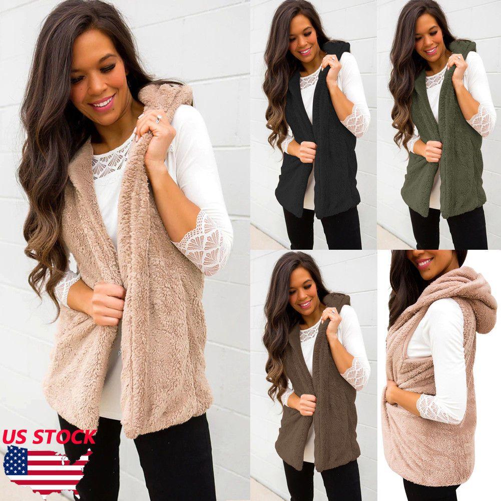 b45e9c0f6f750 Women Winter Sleeveless Jacke Hoodie Warm Waistcoat Jacket Coat Vest ...