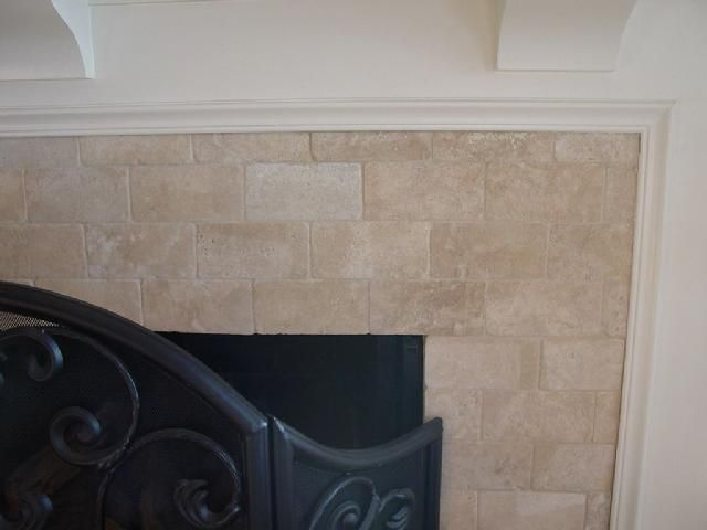 Travertine Tile Fireplace Decorating Pinterest Fireplace Redo