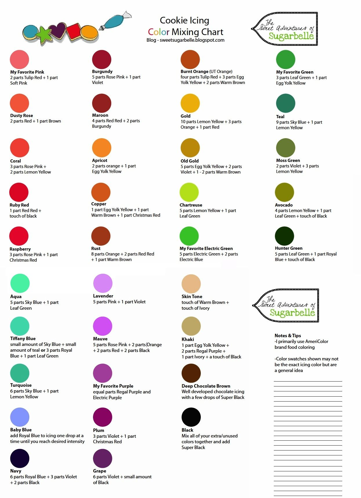 Cookie icing color mixing chart courtesy