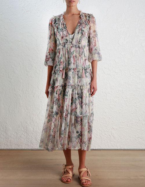 Zimmermann Jasper Floral Ruffle Dress . Model Image. | Zimmermann ...