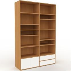 Photo of Holzregal Eiche – Modernes Regal aus Holz: Schubladen in Weiß & Türen in Weiß – 152 x 233 x 47 cm, P
