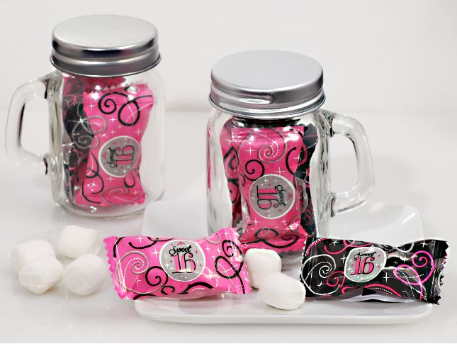 Sweet 16 Mason Jar Favors Filled With Mints Mason Jar Favors Mason Jars Glitter Mason Jars