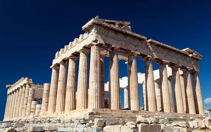 Hämta bilder Athens Akropolis, 4k, ruinerna, sevärdheter, Grekiska kolonner, Aten, Grekland