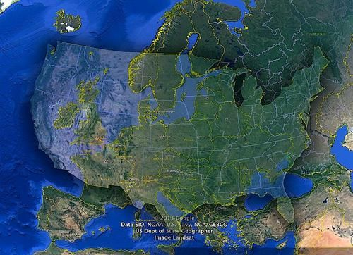 US And Europe Comparison Matching Projections Maps Pinterest - Us and europe map