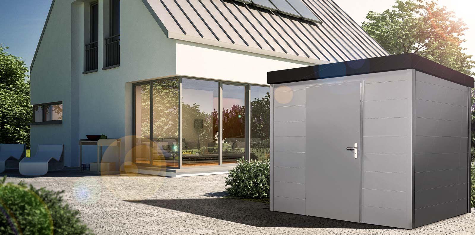 ger tehaus gartenhaus aus stahl mit waagerechten fugen farbe nach ral carport einhausungen. Black Bedroom Furniture Sets. Home Design Ideas