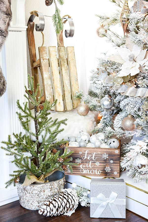 How To Decorate A Flocked Gold And Silver Winter Wonderland Christmas Tree Michaels Dream Challenge