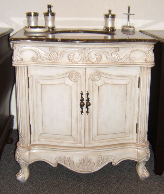 Bathroom Vanity 31 inch Antique Bathroom Vanity in Antique White with Taupe  Brown Emperador Marble top, of quality hardwood and engineered woodMulti  step ... - Antique White Bathroom Vanity Toronto - BX8258731AW Bathroom