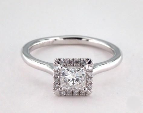 .5ct Halo Princess Engagement Ring White Gold