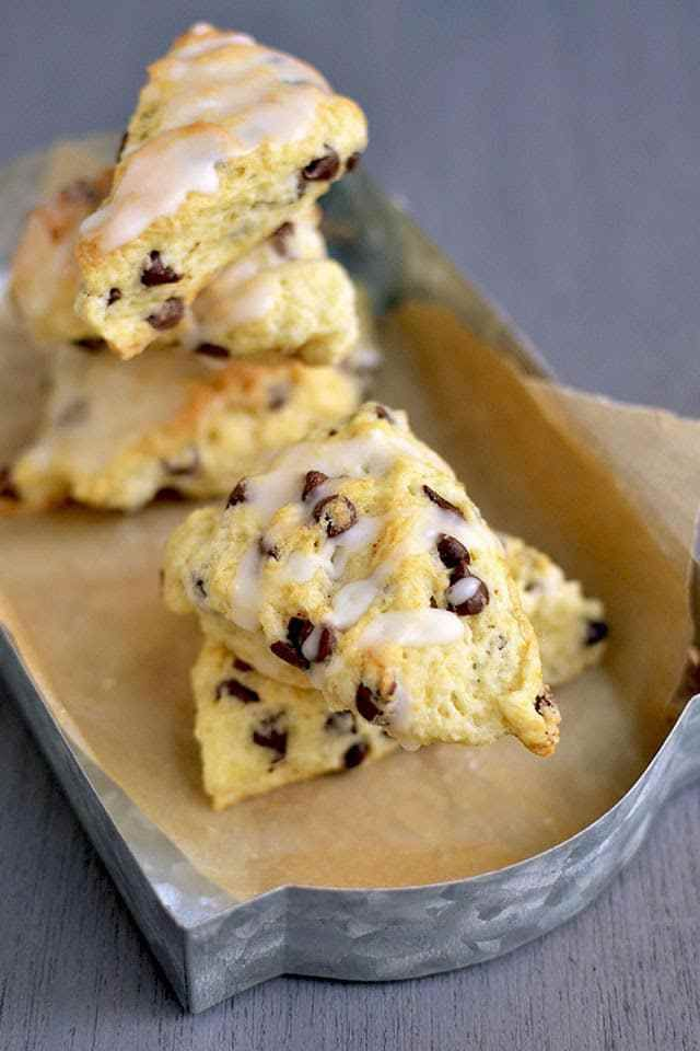 Homemade Mini Chocolate chip scones taste so much better than the dense store bought ones. Try these flaky and delicious scones that are easy to put together.