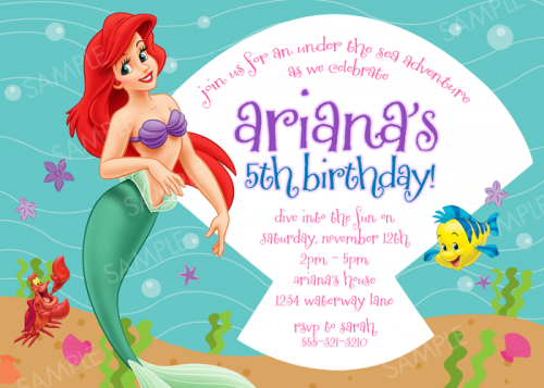 Nice free printable birthday invitations ariel mermaid free ariel invitation for little mermaid birthday party printable file filmwisefo