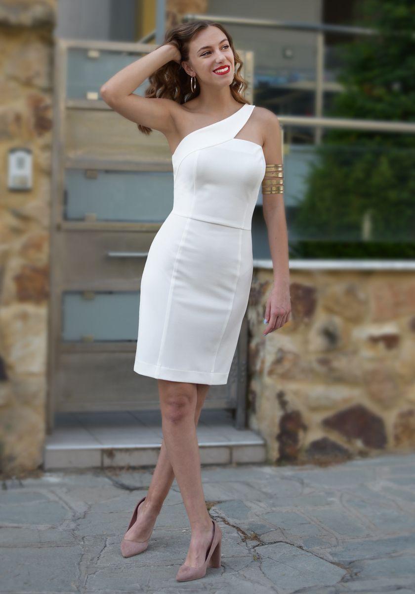 23587adac45 Λευκο φορεμα με εναν ωμο | Τάσεις της μόδας άνοιξη-καλοκαίρι του ...