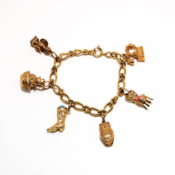 Avon Charm Bracelet  Gold Chain Link with Owl, Telephone, Booth, Vanity Chair, Boot, Victorian Bowl, Coffee Mill 14kt Gold Plated Booth has