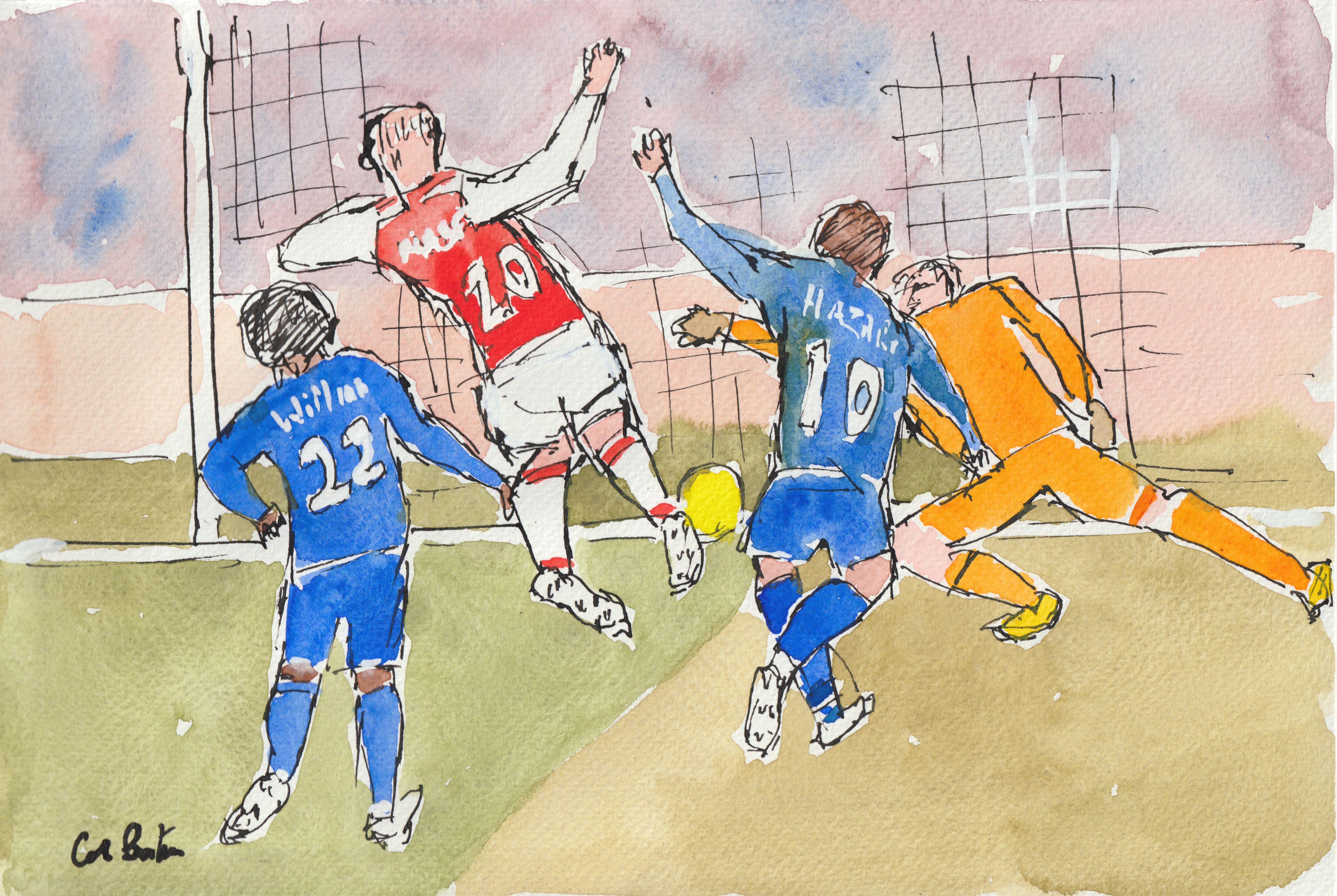 Watercolour Painting Of A Football Match Available To Be Used As A Design Football Image Advertising Poster Magaz Teddy Bear Drawing Painting Bear Drawing