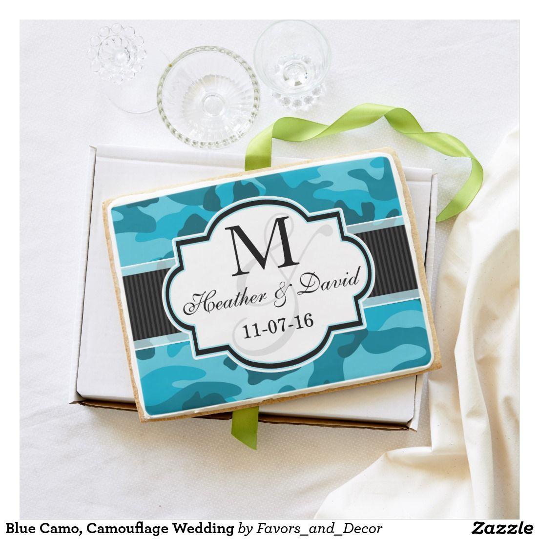 Blue Camo, Camouflage Wedding Jumbo Shortbread Cookie | Favors ...