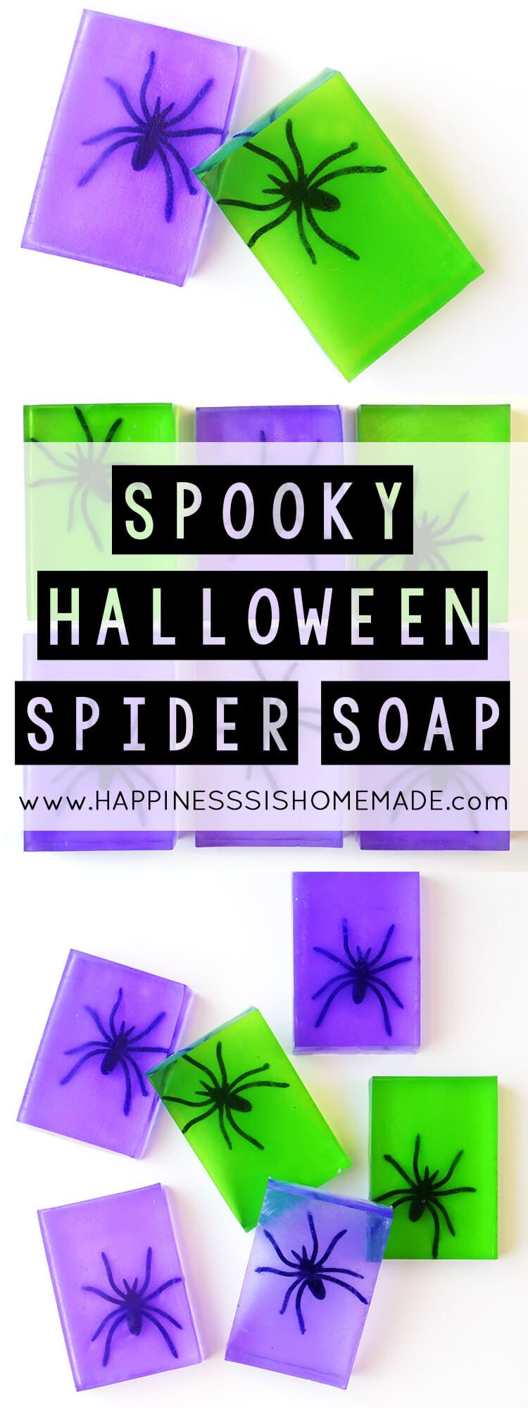 Spooky Spider Soap Halloween Craft - These spooky spider soaps are a fun and easy Halloween craft that the whole family will enjoy making together! Super quick to make – you can whip up an entire batch in about 10 minutes!