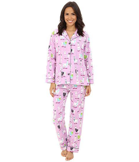 P.J. Salvage Fall into Flannel Llama Print Pajama Set at Zappos.com ... 8d320d22e