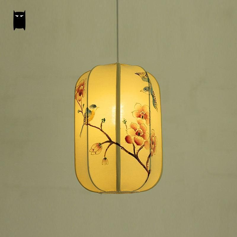 Fabric Lantern Shade Pendant Light Fixture Chinese Japanese Hanging Ceiling Lamp