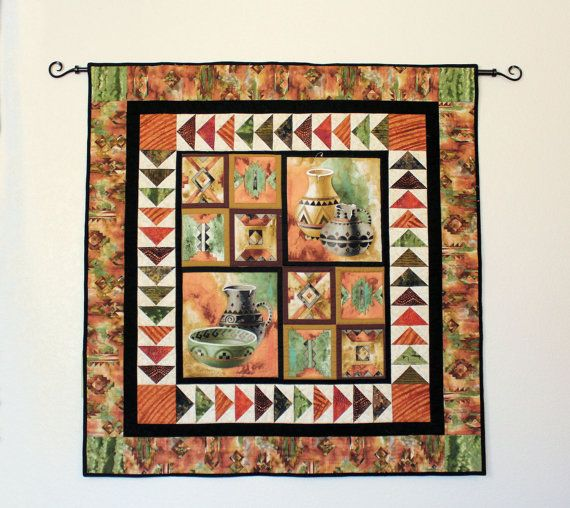 Indian Pottery Quilted Wall Hanging Southwest By