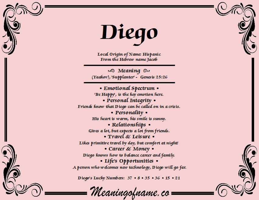 Meaning of Name Diego   Good boy names, Scandinavian names