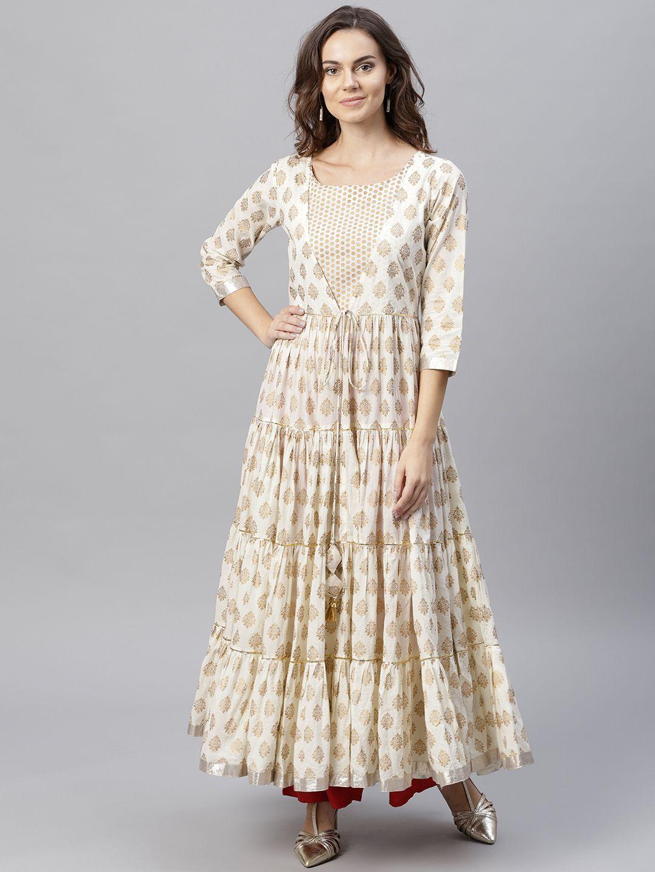 3c7eae5dde Varanga Women Off White   Golden Printed Anarkali Kurta - Kurtas for Women  7344653