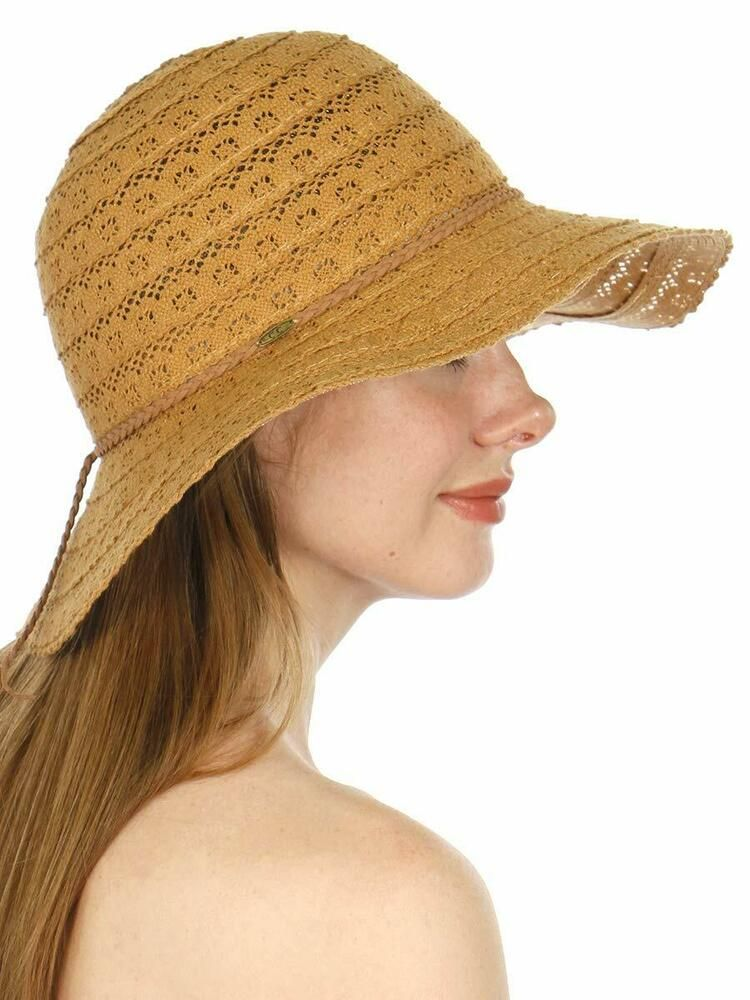 397c8b2d Foldable Sun Hats for Women Cotton Lace Bucket for Beach Outdoor Coffee  #SERENITA