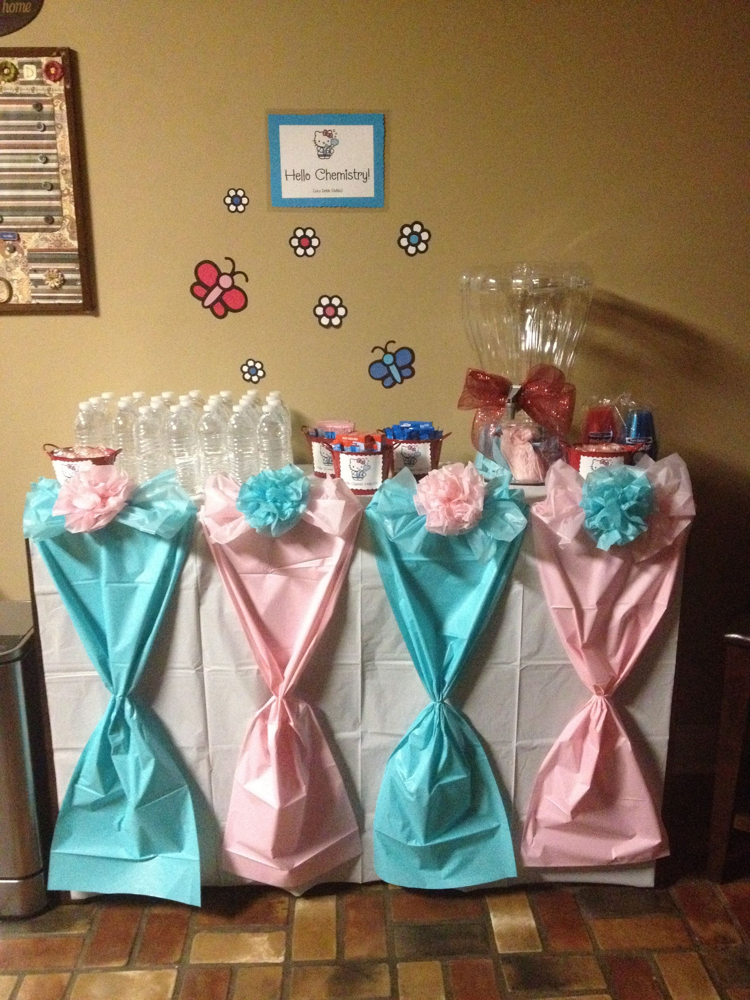 Diy table decorations for baby shower - Tablescape Made Using Dollar Tree Table Cloths