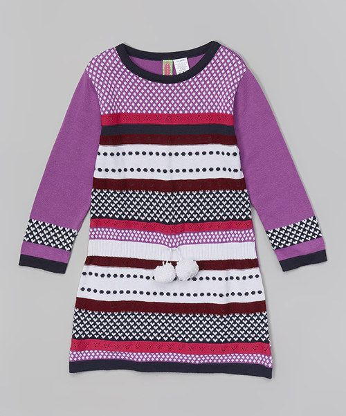 Look at this Purple Fair Isle Sweater Dress - Infant, Toddler ...