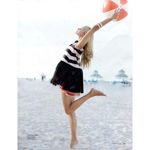 Valentina Zelyaeva Wears Beach Classics, Lensed by Kayt Jones for Elle... ❤ liked on Polyvore