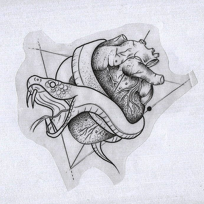 snake heart love dead evil emotions tattoo tattoing linework dotwork blackworkers geometric ink art illustration drawing inking skin