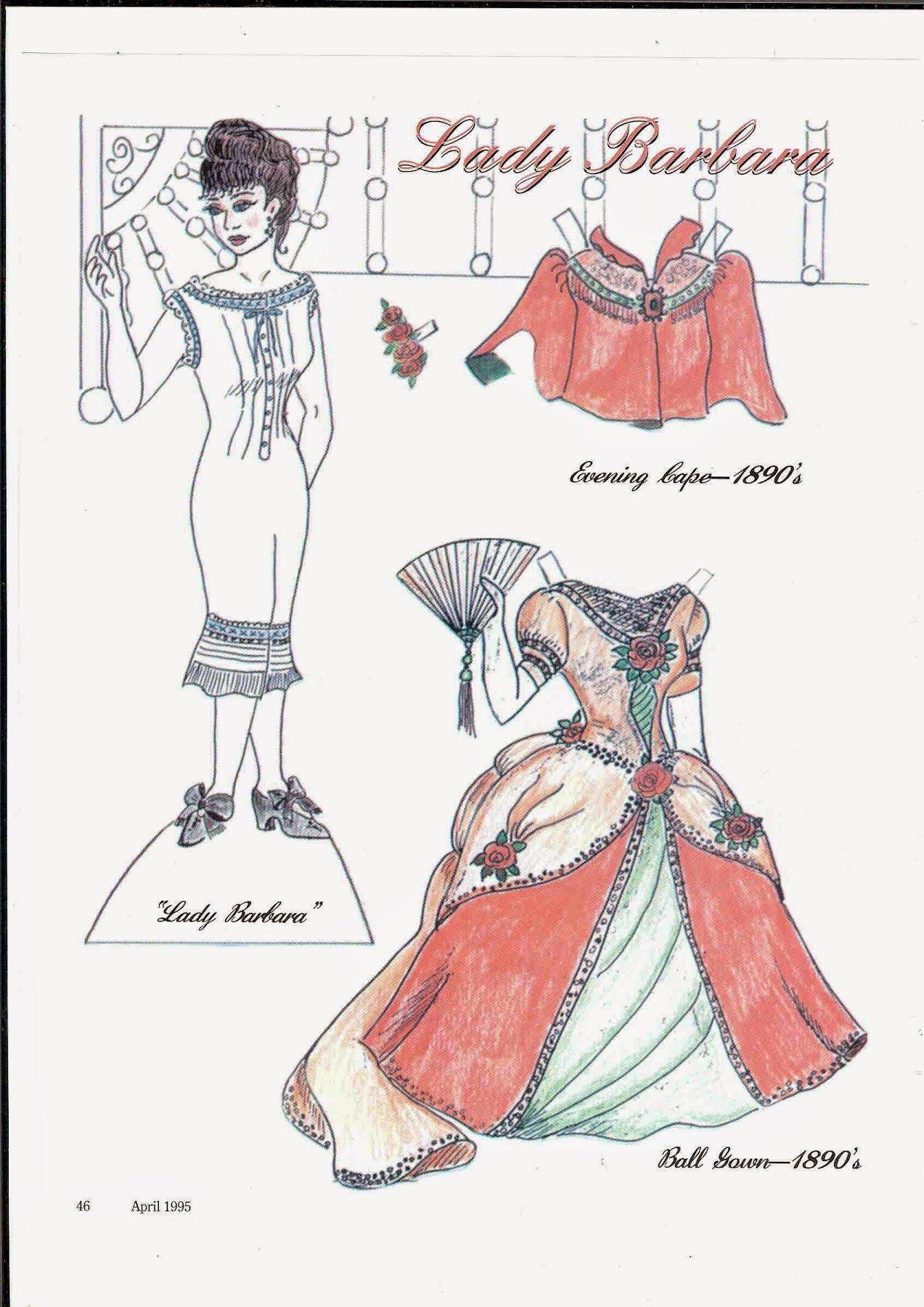 Lady Barbara paper doll by Iris Hill, Dollmaking Apr 1995