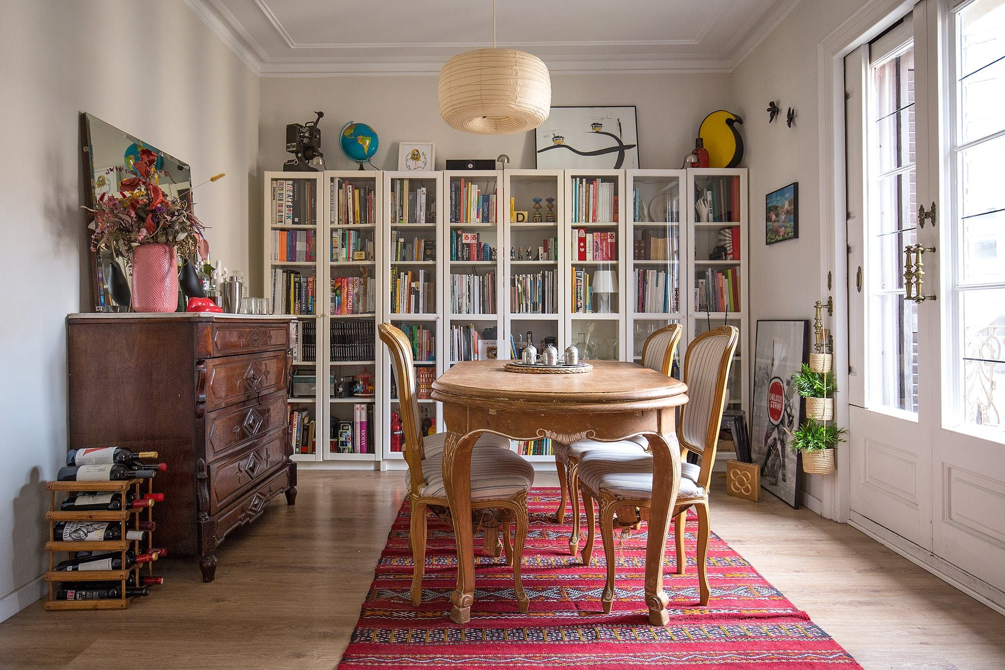 House Tour A Creative Couple's Romantic Barcelona Flat  Room Glamorous Shelves Dining Room 2018